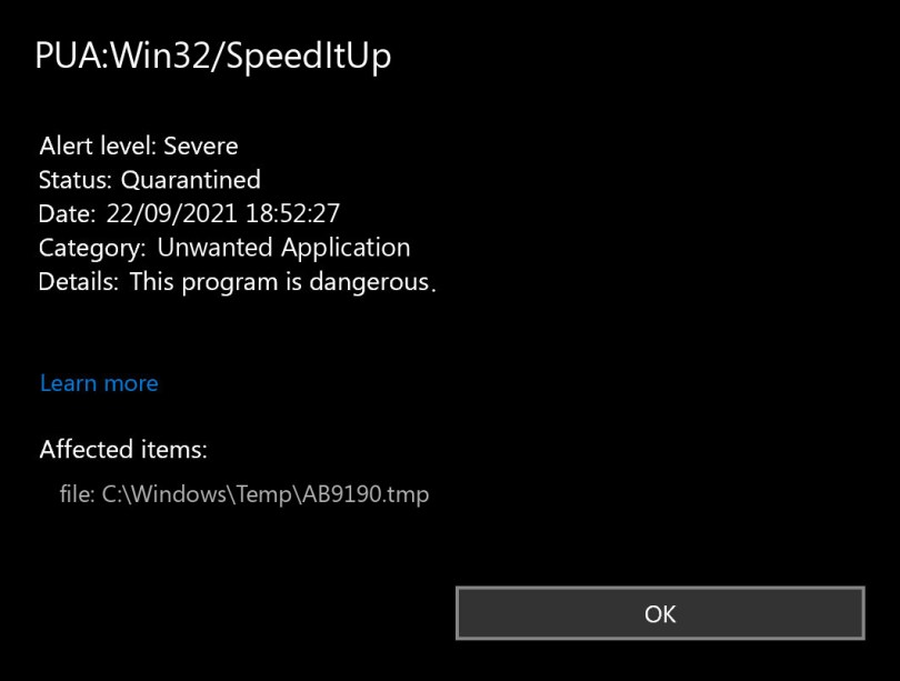 PUA:Win32/SpeedItUp found