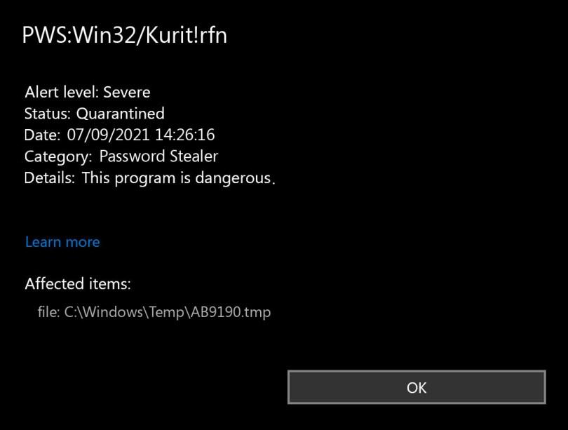 PWS:Win32/Kurit!rfn found