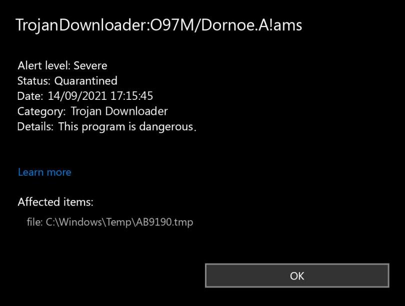 TrojanDownloader:O97M/Dornoe.A!ams found