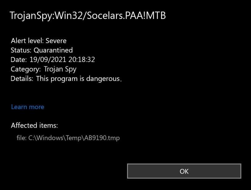 TrojanSpy:Win32/Socelars.PAA!MTB found