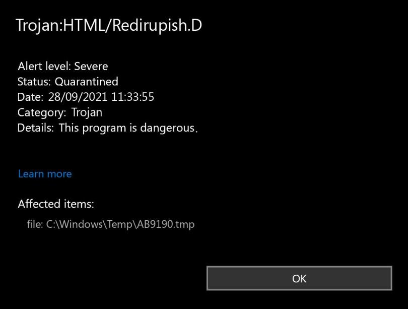 Trojan:HTML/Redirupish.D found