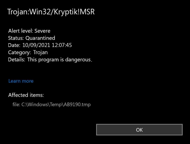 Trojan:Win32/Kryptik!MSR found
