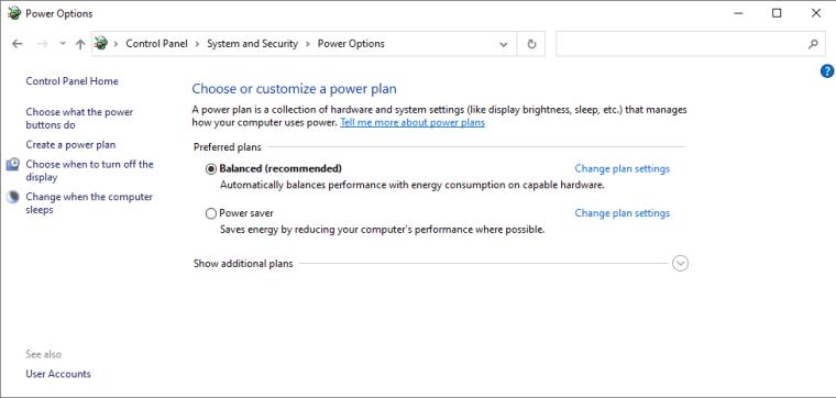 windows 10 - power plans