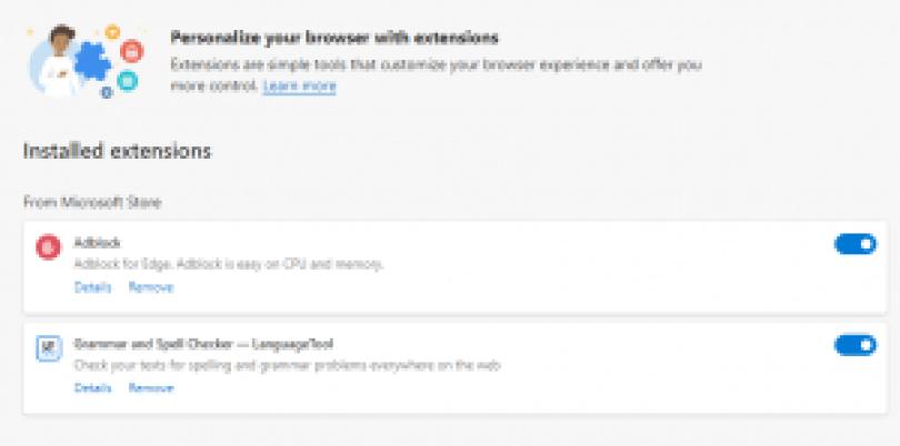 MicrosoftEdge-ブラウザ拡張機能を削除する