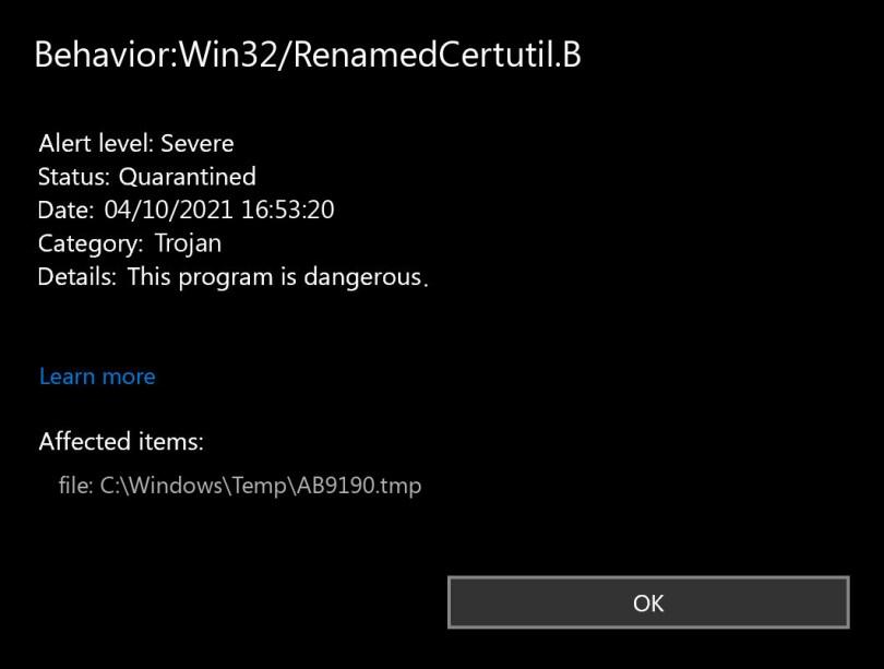Behavior:Win32/RenamedCertutil.B found