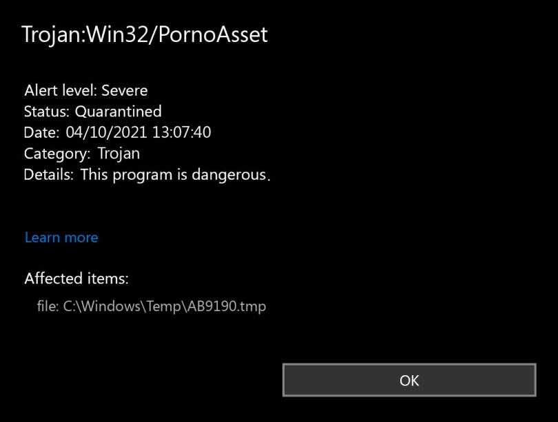 Trojan:Win32/PornoAsset found