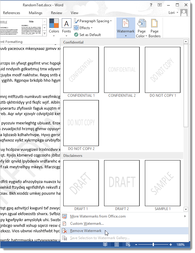 How To Add Draft To Word Document : draft, document, Watermark, Document