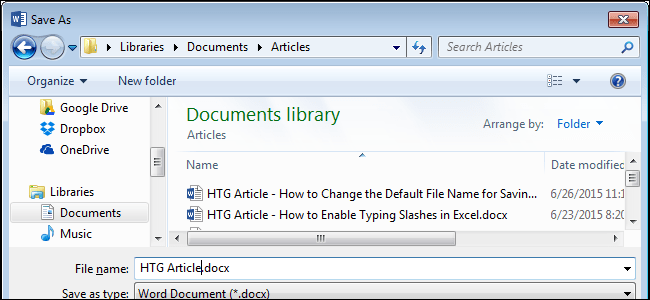 How To Change The Default File Name Used When Saving Word