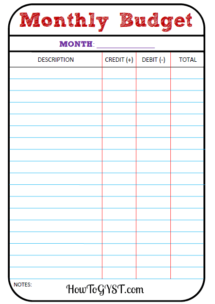 month budget worksheet