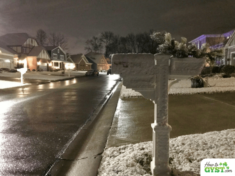 Christmas Eve, December 2017 – snow on US mailbox