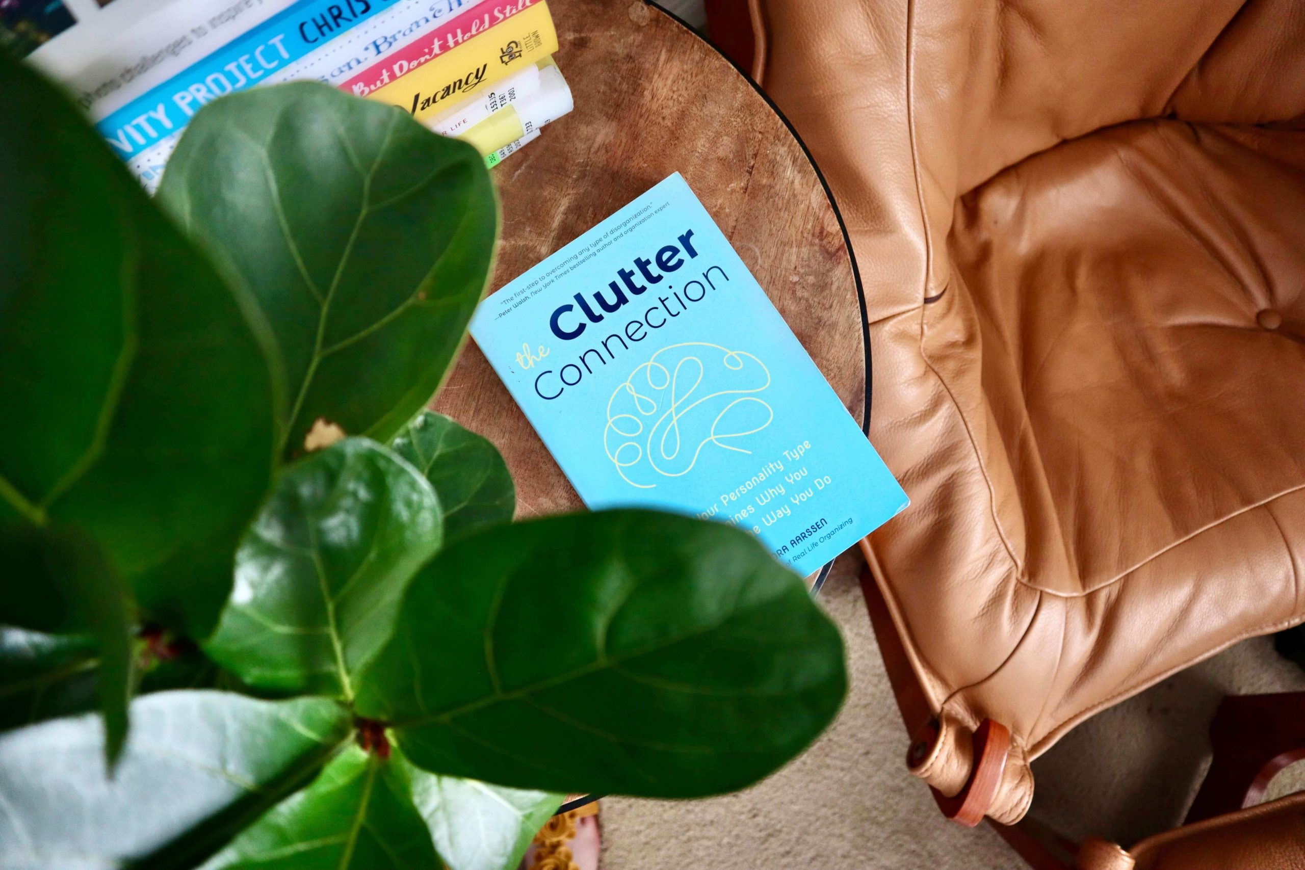 """""""The Clutter Connection"""" by Cassandra Aarssen, honest book review, cover flatlay on side table"""