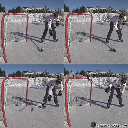 How to take a backhand shot in Hockey