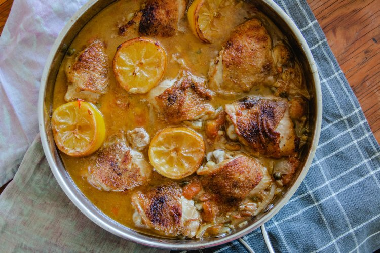 Oven Braised Chicken Thighs with Lemons & Capers