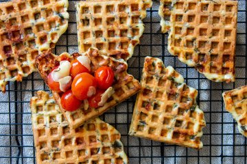 Spinach waffles with cherry tomatoes