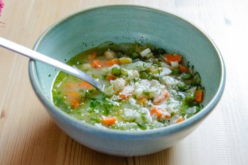a big bowl of hearty spring minestrone soup