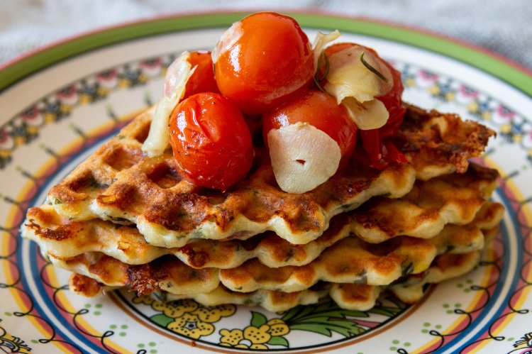 Savoury Waffles With Cherry Tomatoes