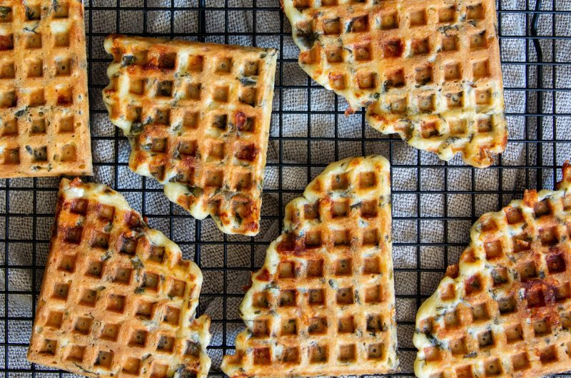 Savoury Feta and Spinach Waffles