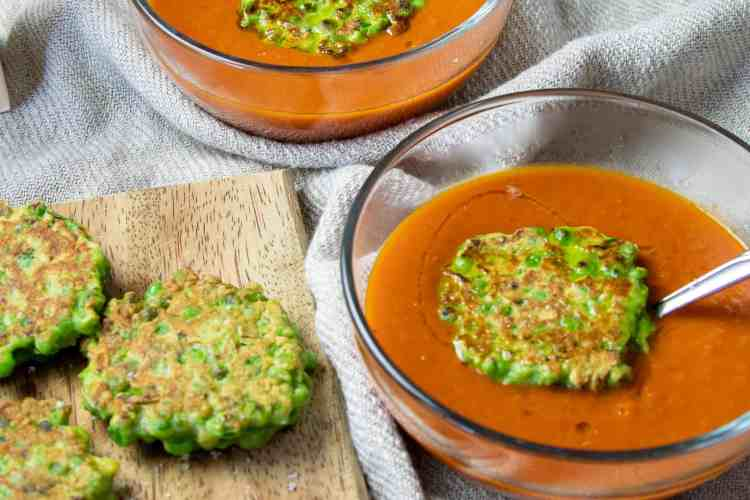 pea-fritters-and-tomato-soup