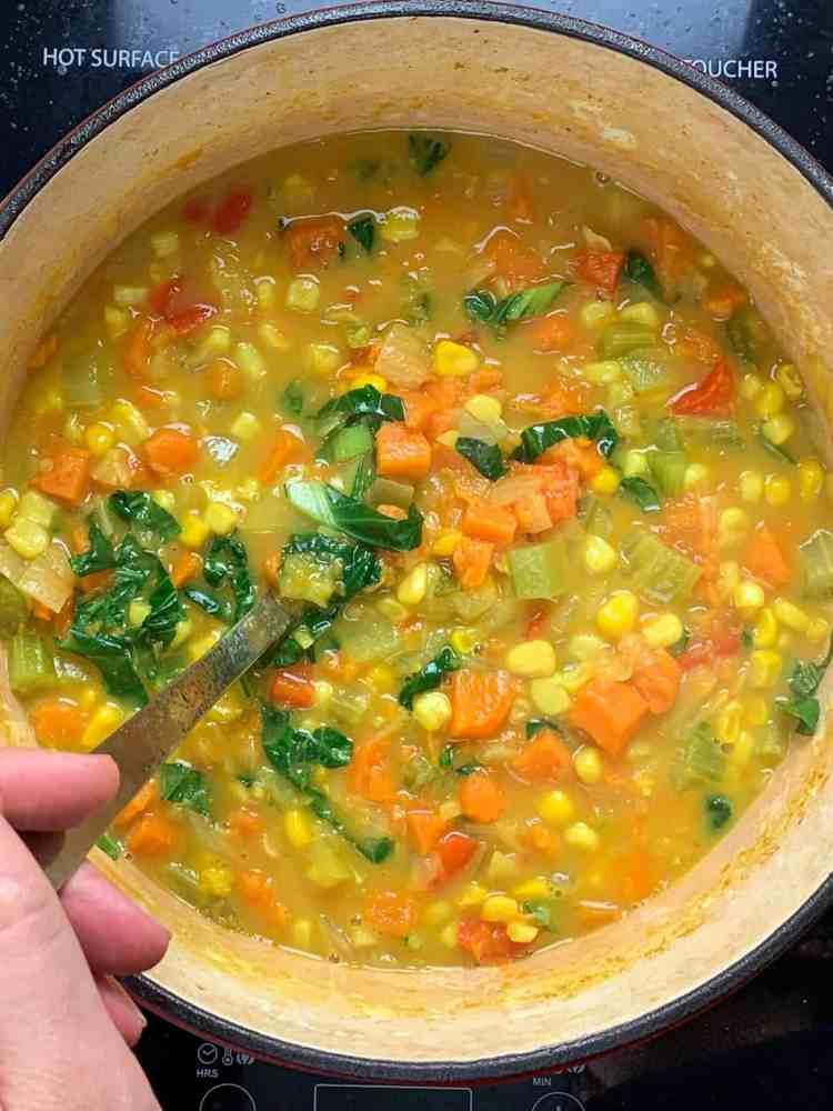 a big pot of corn chowder