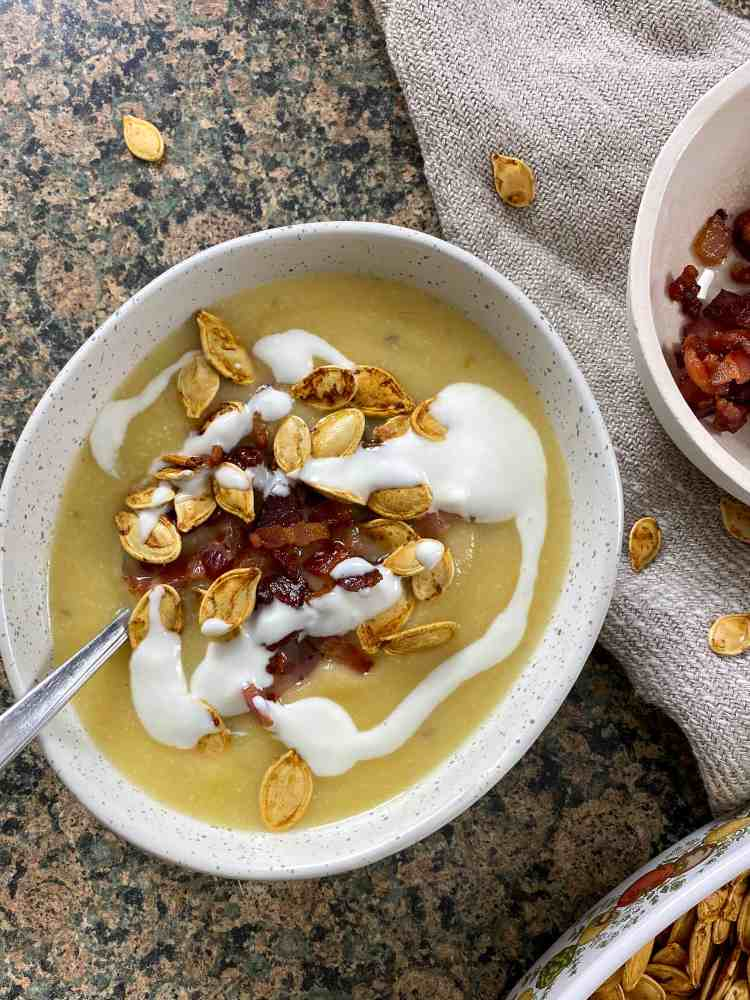 rutabaga soup with bacon and pumpkin seeds