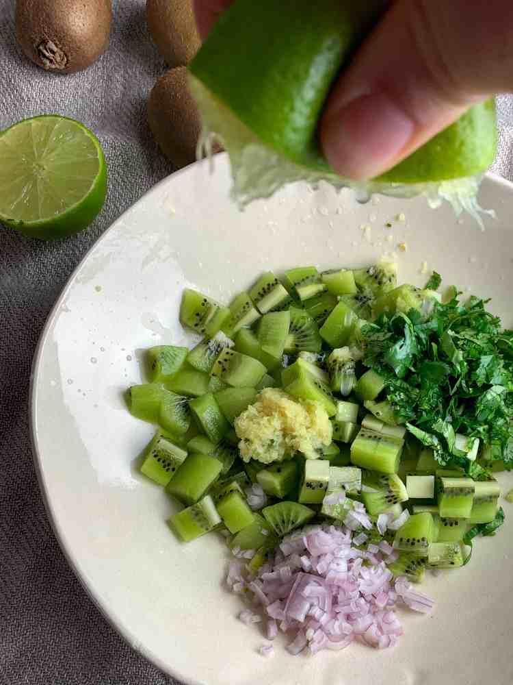 kiwi salsa ingredients in a bowl.