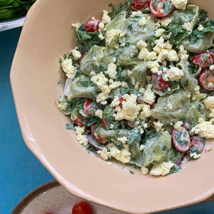 Summer Tortellini Salad with Creamy Yogurt Dressing