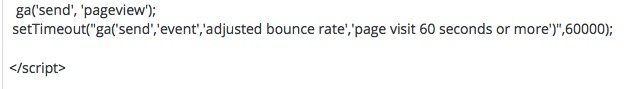 Adjusted bounce rate code