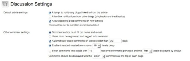 Wordpress discussion settings