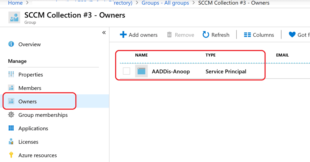 SCCM Collection AAD Group Sync - Owner of Azure AD group