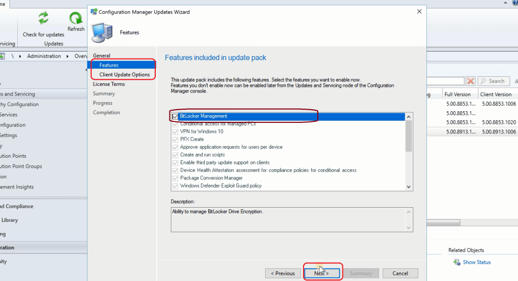 Bitlocker Management SCCM 1910 Update