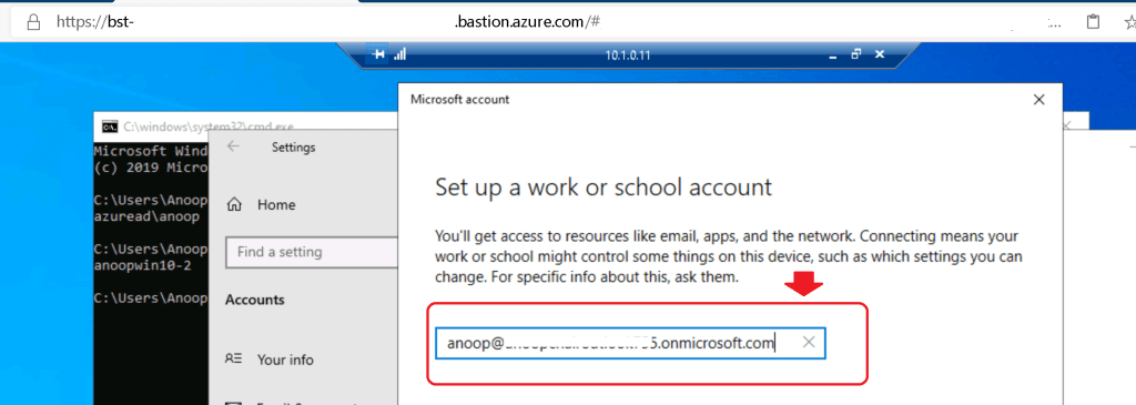 Set up a work or school account - Intune Enrollment Windows 10 Azure VM