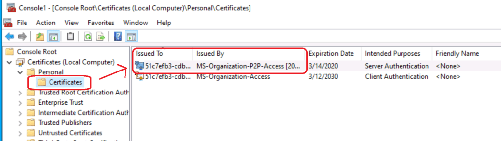 Computer Certificate -  MS-Organization-P2P-Access [2020]  RDP of Azure AD Joined Device MS-Organization-P2P-Access Certificate