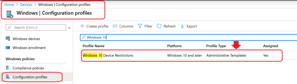 admin experience after creating the Intune Administrative Template