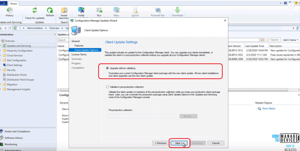 Client Update Settings page configuration - SCCM 2002 Installation Step by Step Guide
