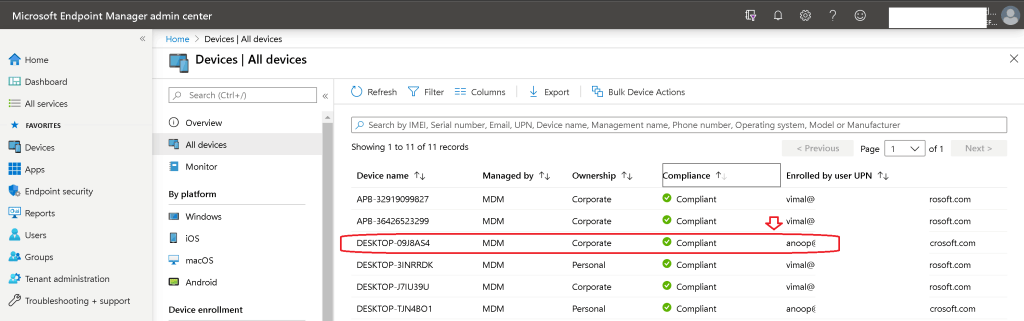 Enrolled User for Windows 10 Intune Managed device