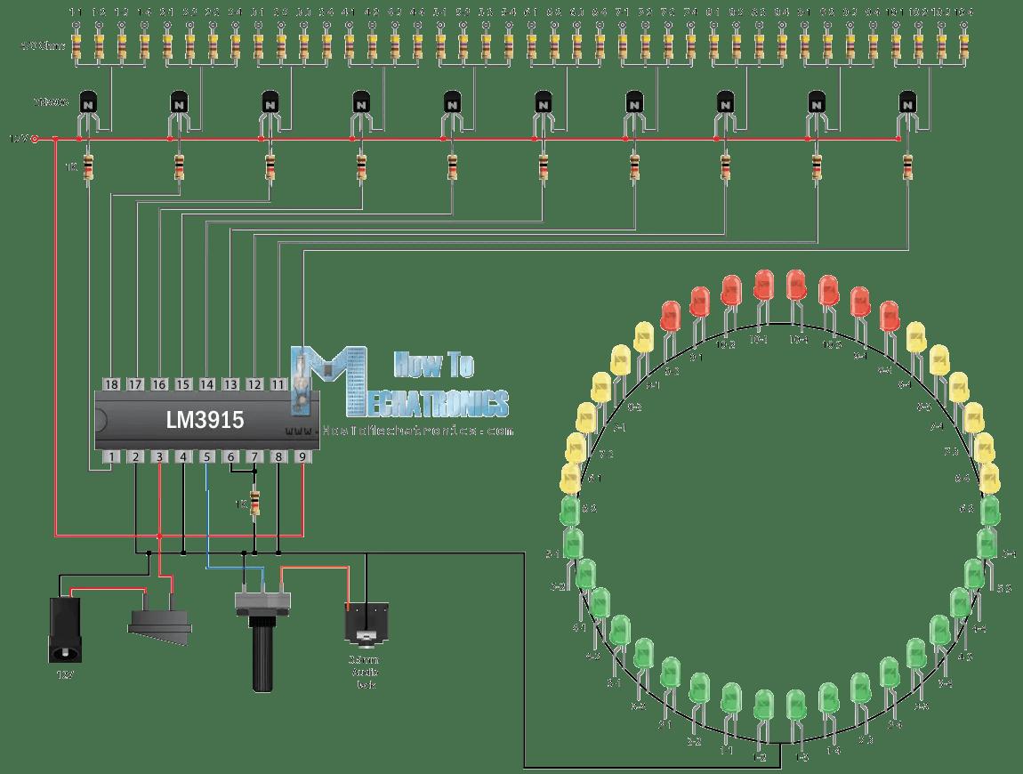 infinity mirror music vu meter project circuit schematics [ 1150 x 870 Pixel ]