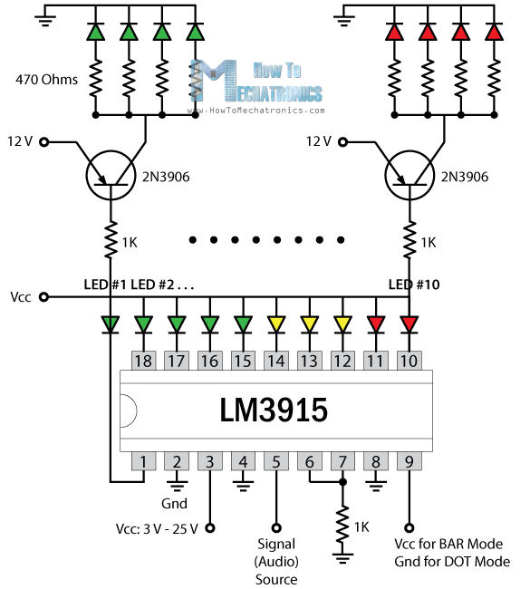 electronic vu meter by lm3914 and lm3915