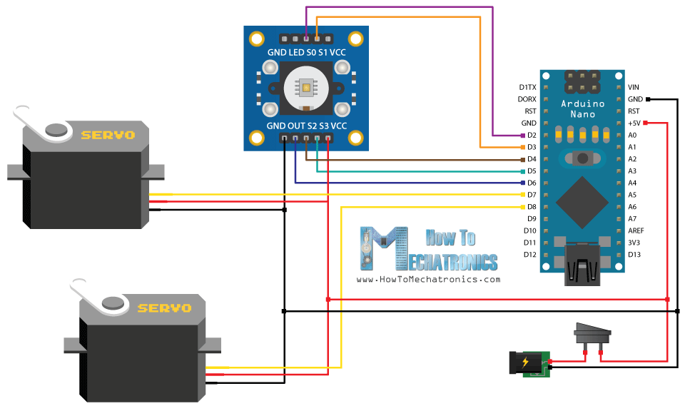 Arduino Color Sorting Machine Circuit Schematic?resize\\\=665%2C394 boss audio wiring diagram car audio amp wiring \u2022 wiring diagrams Basic Electrical Wiring Diagrams at alyssarenee.co