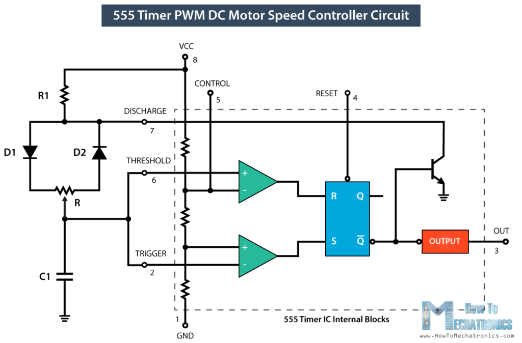 4 wire dc motor connection diagram 2004 hyundai santa fe ac wiring how to make a pwm speed controller using the 555 timer ic generator circuit