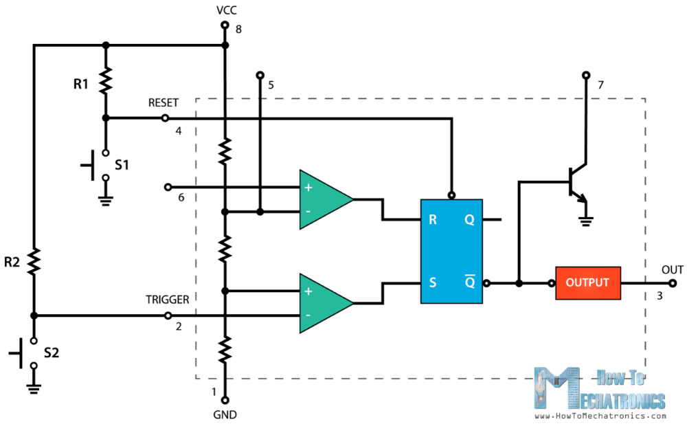 medium resolution of the trigger and the reset pins of the ic are connected to vcc through the two resistors and it that way they are always high