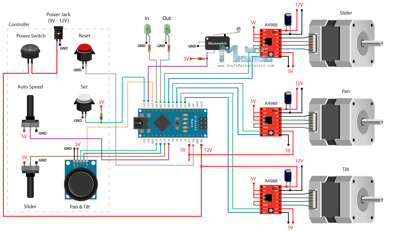hight resolution of diy motorized camera slider with pan and tilt arduino project circuit diagram