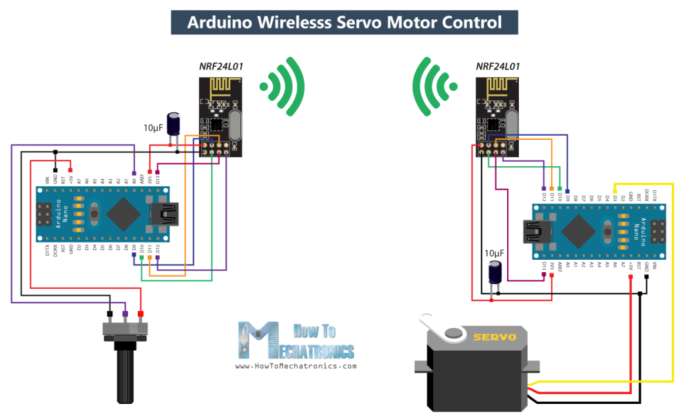 medium resolution of arduino wireless servo motor control circuit diagram png