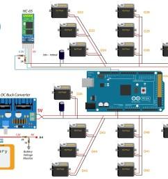 arduino ant hexapod robot howtomechatronicsarduino hexapod ant robot circuit diagram schematics [ 1440 x 847 Pixel ]