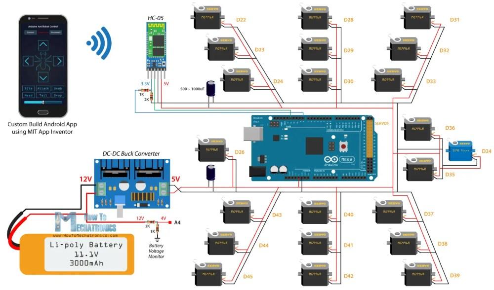 medium resolution of arduino ant hexapod robot howtomechatronicsarduino hexapod ant robot circuit diagram schematics
