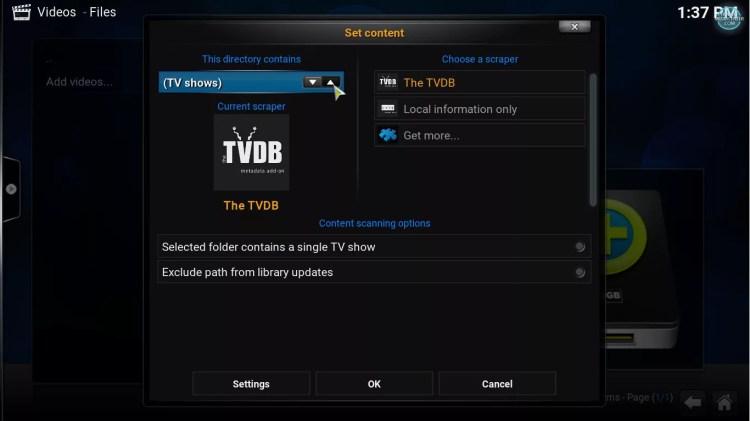 Set folder content to tv shows