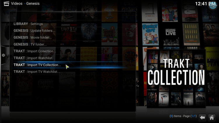 import Trakt collection to Kodi library using Genesis