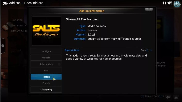 install SALTS addon, Stream all the sources on Kodi