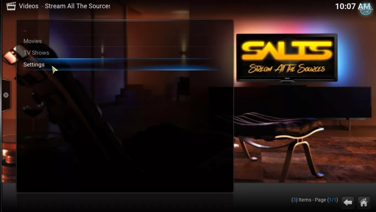 settings option on SALTS main menu