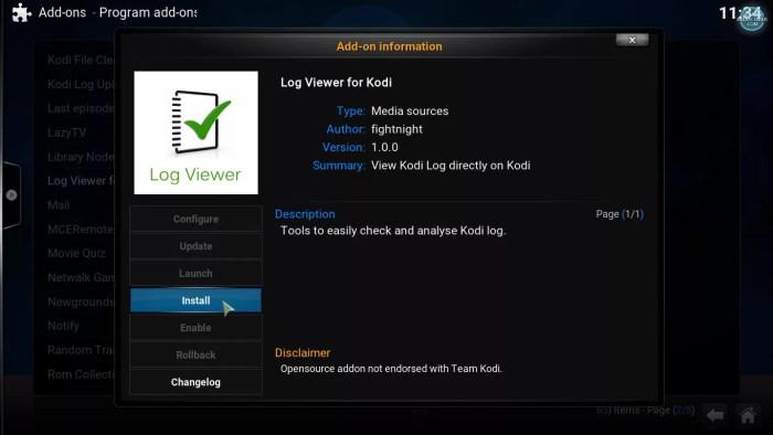 installing Log Viewer for Kodi