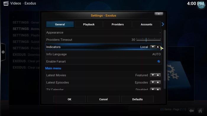 changing to trakt indicator on Exodus Kodi Addon